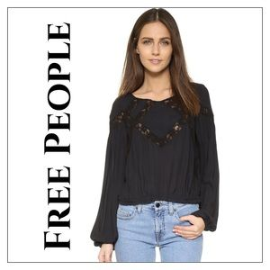 New Free People Geometry Lessons Peasant Blouse